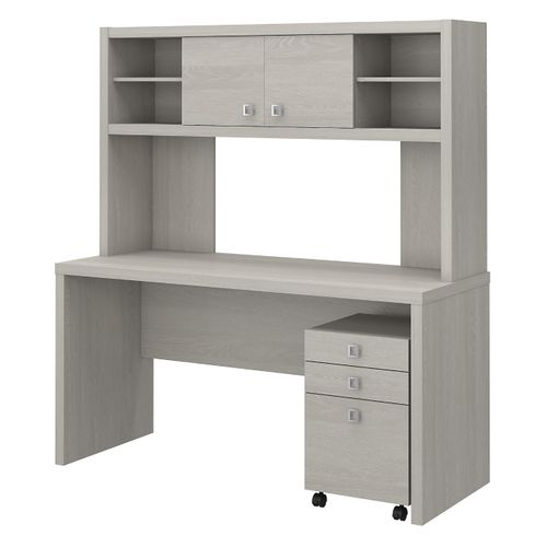 The kathy ireland® Echo Credenza Desk with Hutch and Mobile File Cabinet is Sustainable Eco Friendly Furniture. Includes Free Shipping! 30H x 72L x 72W. - <font color=red><b>OUT OF STOCK</b></font>
