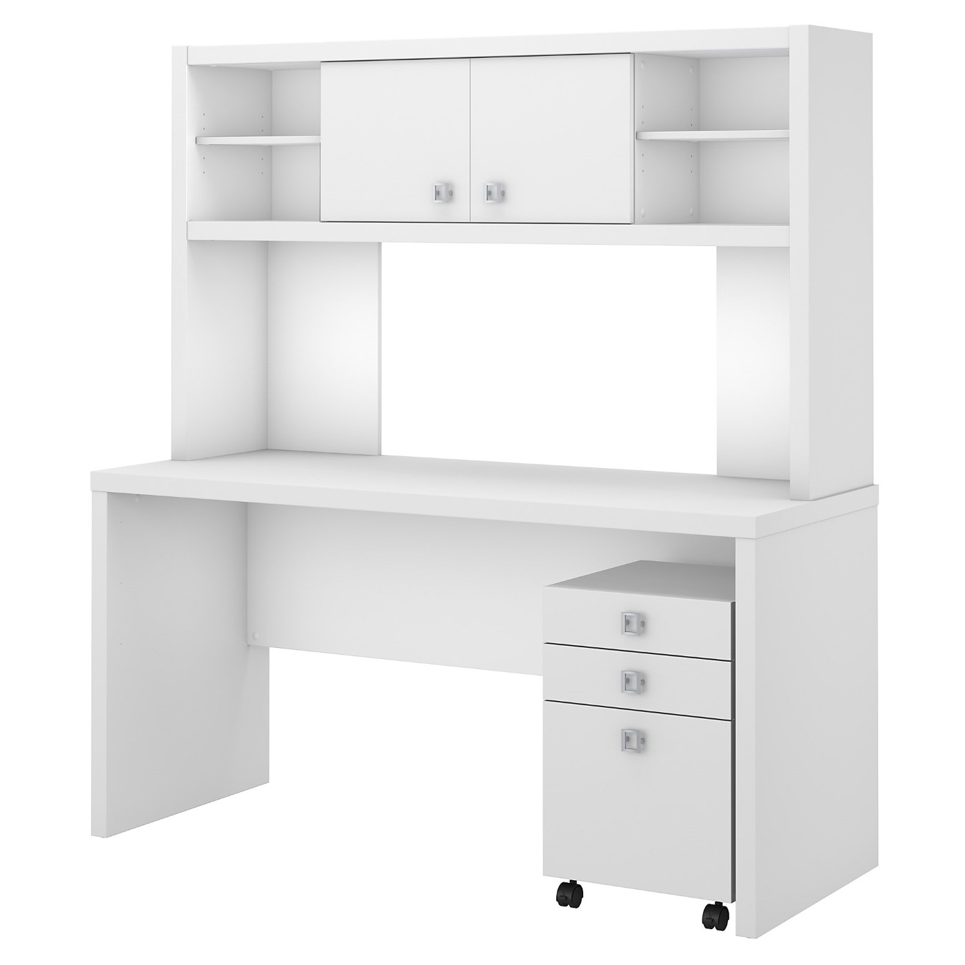 OFFICE BY KATHY IRELAND� ECHO CREDENZA DESK WITH HUTCH AND MOBILE FILE CABINET. FREE SHIPPING