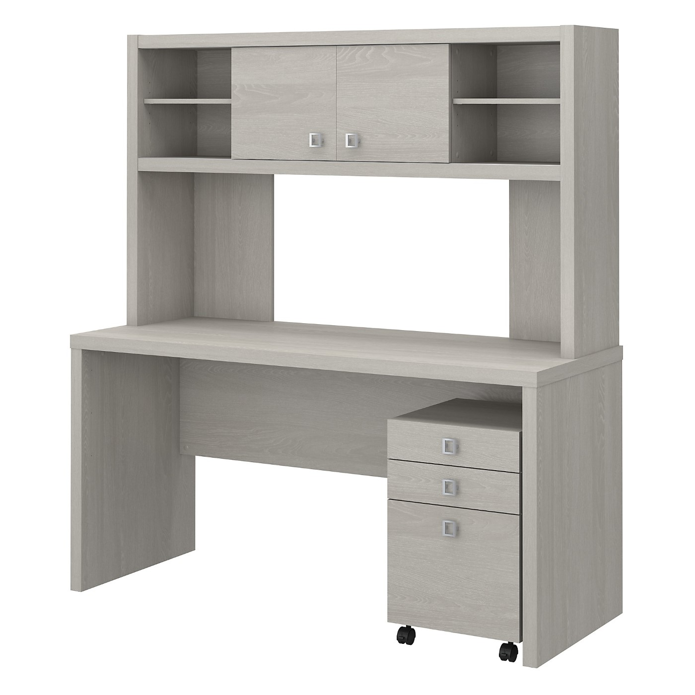 The kathy ireland� Echo Credenza Desk with Hutch and Mobile File Cabinet is Sustainable Eco Friendly Furniture. Includes Free Shipping! 30H x 72L x 72W.