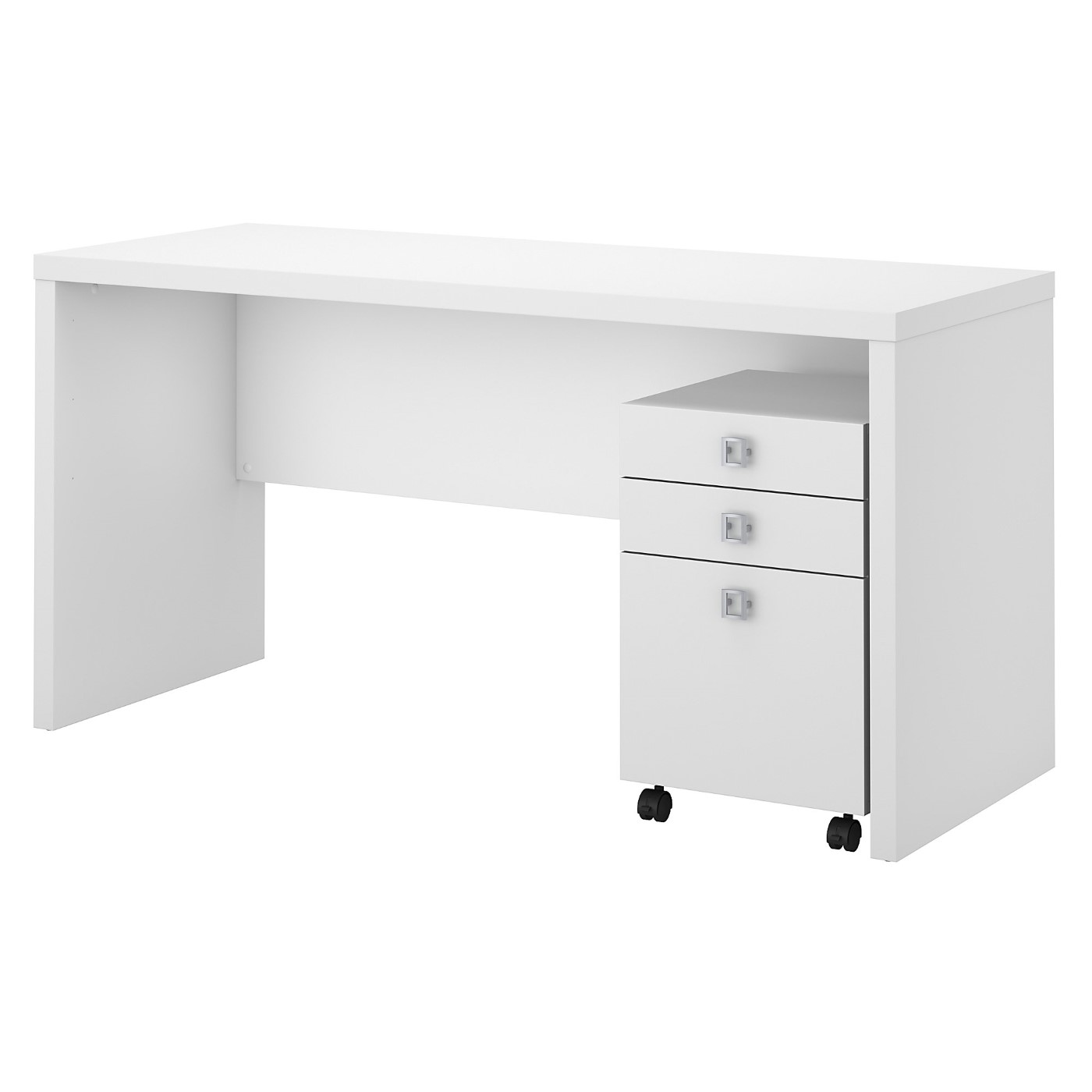 OFFICE BY KATHY IRELAND ECHO CREDENZA DESK WITH MOBILE FILE CABINET. FREE SHIPPING