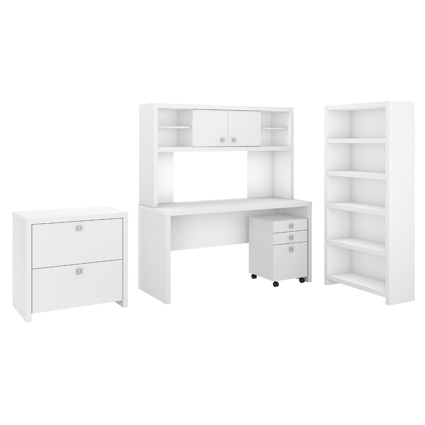 OFFICE BY KATHY IRELAND� ECHO DESK WITH HUTCH, BOOKCASE AND FILE CABINETS. FREE SHIPPING