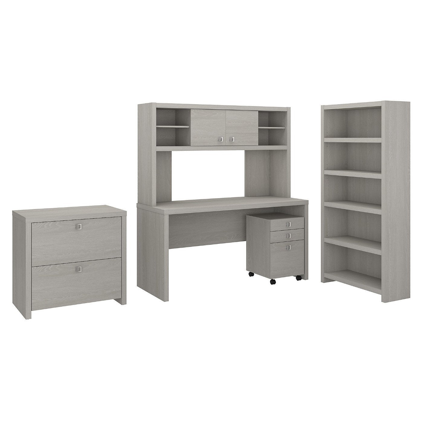 The kathy ireland� Echo Desk with Hutch, Bookcase and File Cabinets is Sustainable Eco Friendly Furniture. Includes Free Shipping! 30H x 72L x 72W  VIDEO BELOW.