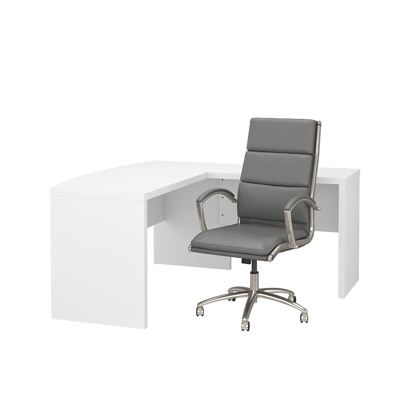 OFFICE BY KATHY IRELAND® ECHO L SHAPED BOW FRONT DESK WITH HIGH BACK CHAIR. FREE SHIPPING SALE DEDUCT 10% MORE ENTER '10percent' IN COUPON CODE BOX WHILE CHECKING OUT.