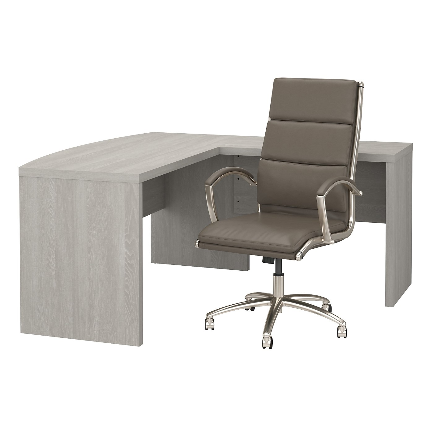 The kathy ireland� Echo L Shaped Bow Front Desk with High Back Chair is Sustainable Eco Friendly Furniture. Includes Free Shipping! 30H x 72L x 72W  VIDEO BELOW.