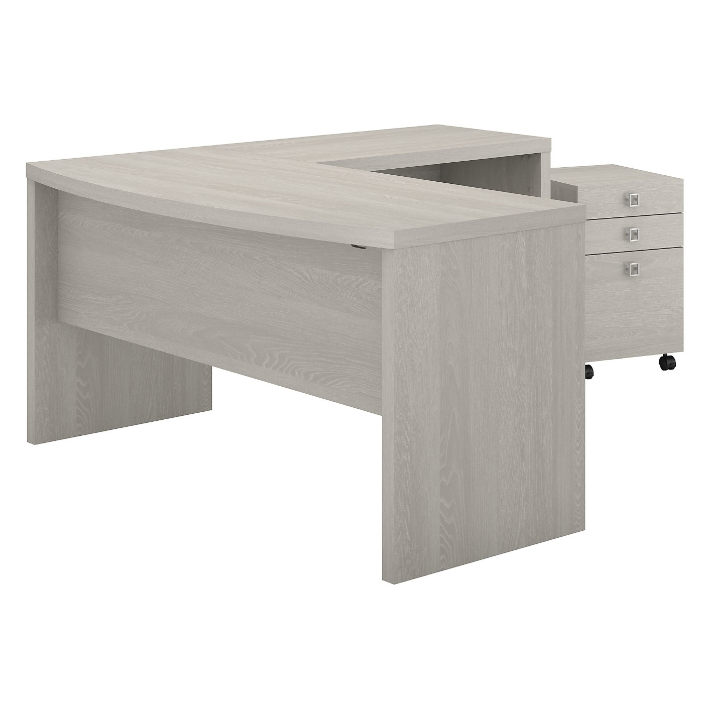 The kathy ireland� Echo L Shaped Bow Front Desk with Mobile File Cabinet is Sustainable Eco Friendly Furniture. Includes Free Shipping! 30H x 72L x 72W.