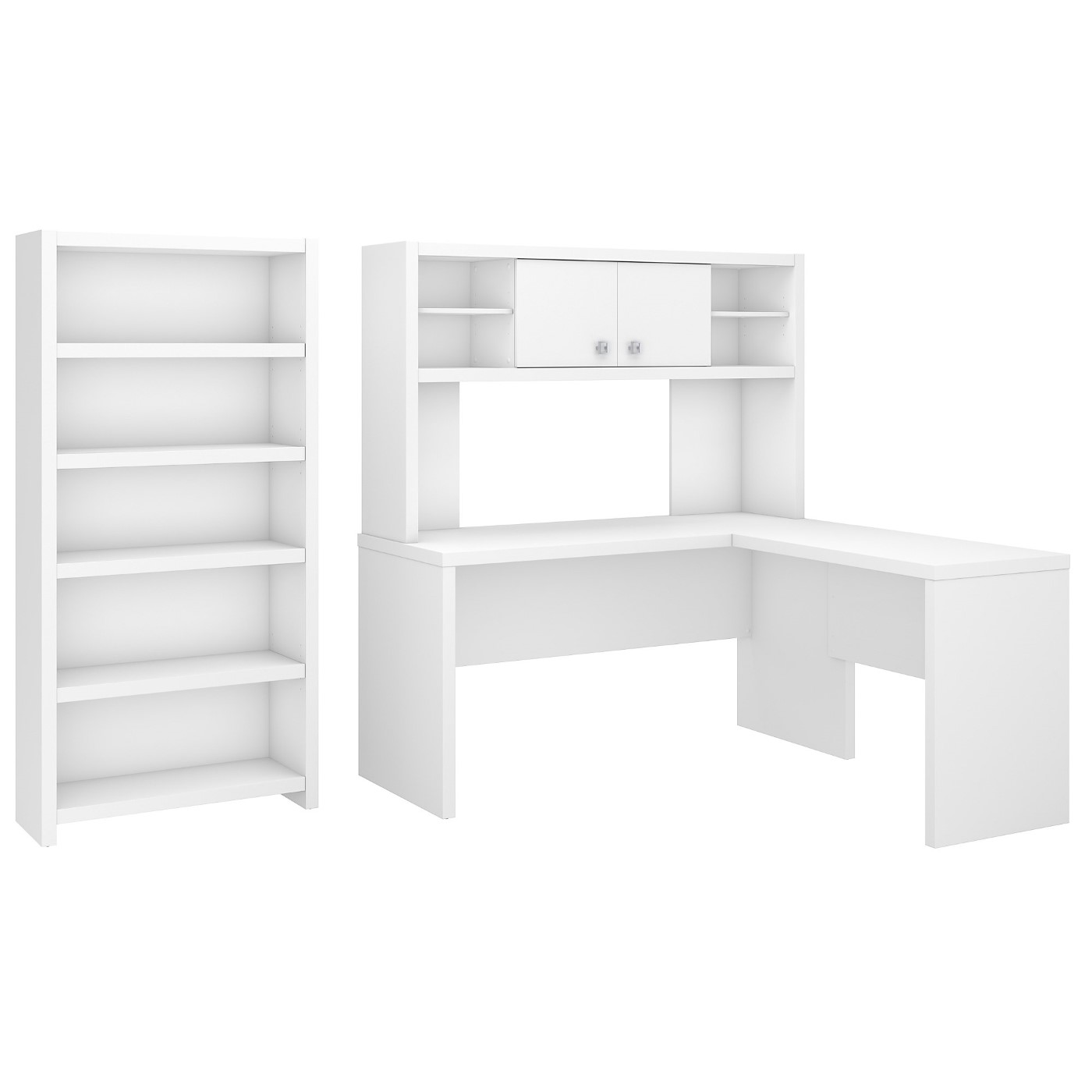 OFFICE BY KATHY IRELAND® ECHO L SHAPED DESK WITH HUTCH AND 5 SHELF BOOKCASE. FREE SHIPPING SALE DEDUCT 10% MORE ENTER '10percent' IN COUPON CODE BOX WHILE CHECKING OUT.