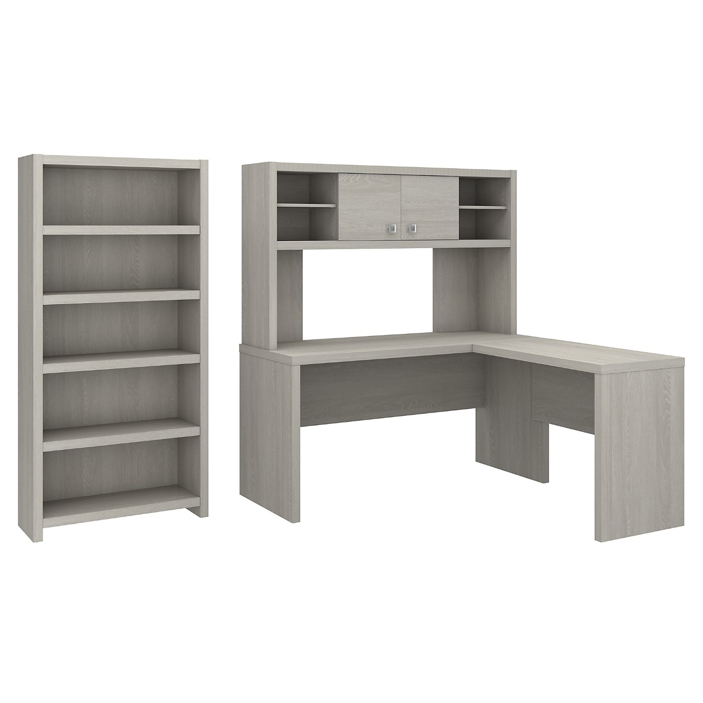 The kathy ireland� Echo L Shaped Desk with Hutch and 5 Shelf Bookcase is Sustainable Eco Friendly Furniture. Includes Free Shipping! 30H x 72L x 72W  VIDEO BELOW.
