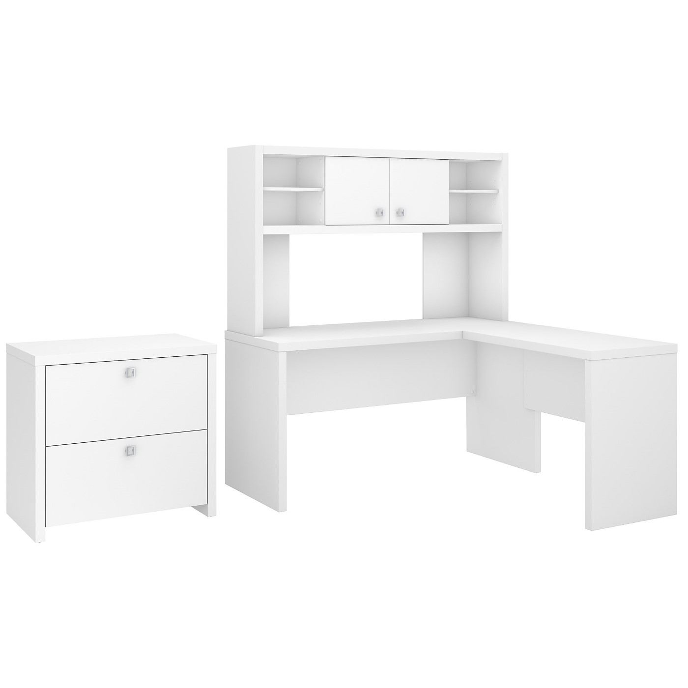 OFFICE BY KATHY IRELAND� ECHO L SHAPED DESK WITH HUTCH AND LATERAL FILE CABINET. FREE SHIPPING