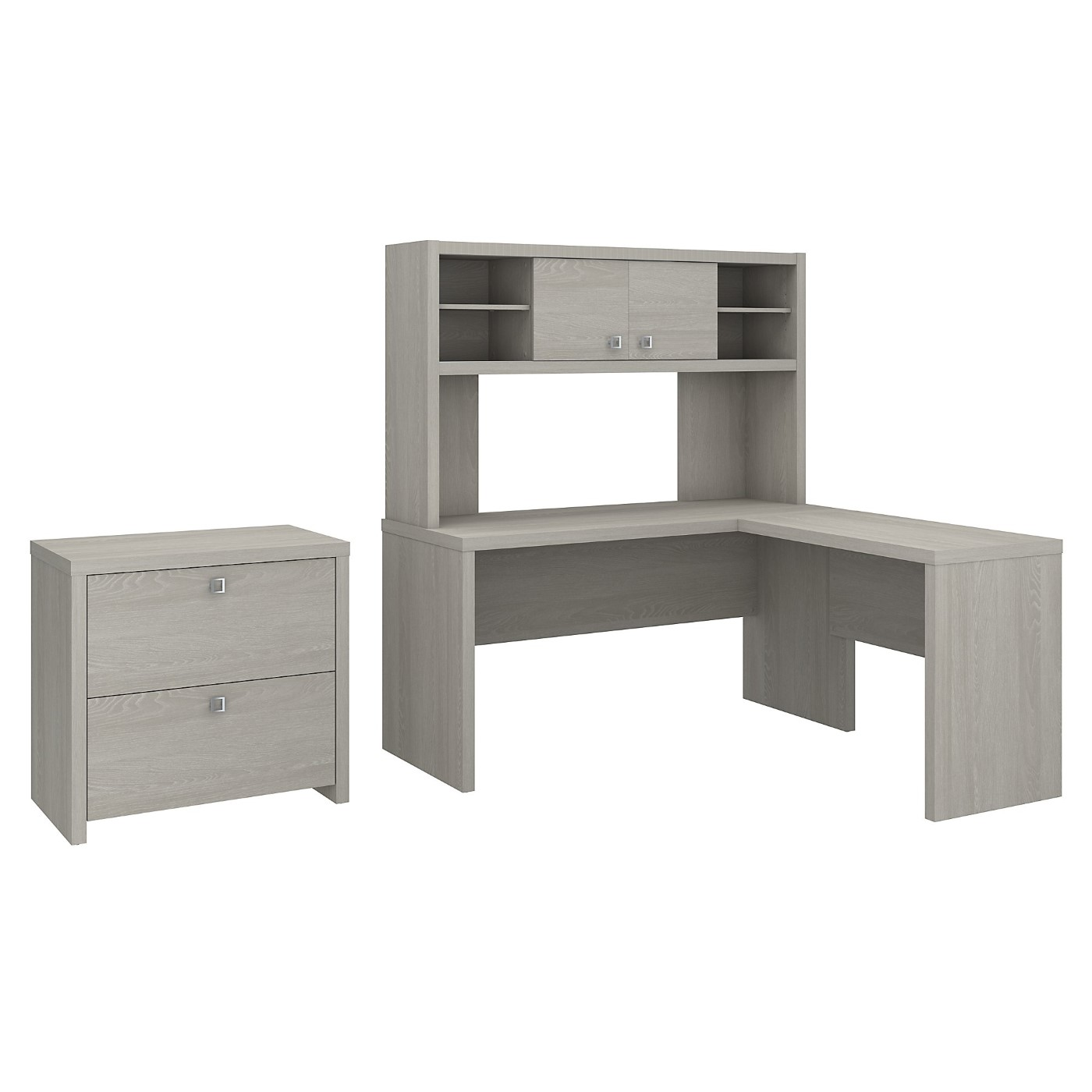 The kathy ireland� Echo L Shaped Desk with Hutch and Lateral File Cabinet is Sustainable Eco Friendly Furniture. Includes Free Shipping! 30H x 72L x 72W  VIDEO BELOW.