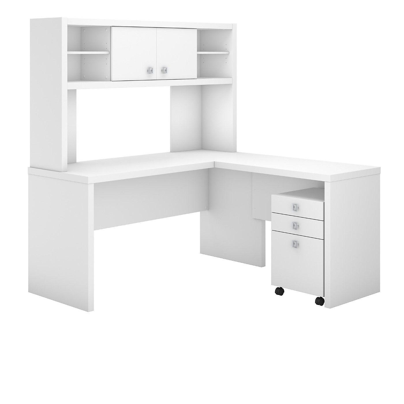 OFFICE BY KATHY IRELAND� ECHO L SHAPED DESK WITH HUTCH AND MOBILE FILE CABINET. FREE SHIPPING