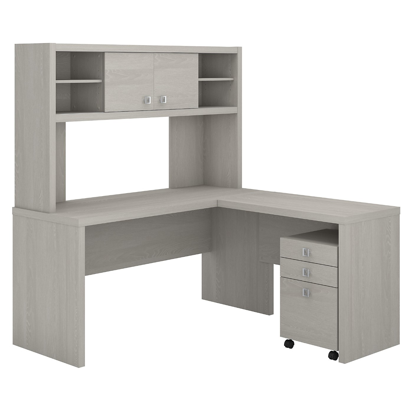 The kathy ireland� Echo L Shaped Desk with Hutch and Mobile File Cabinet is Sustainable Eco Friendly Furniture. Includes Free Shipping! 30H x 72L x 72W.