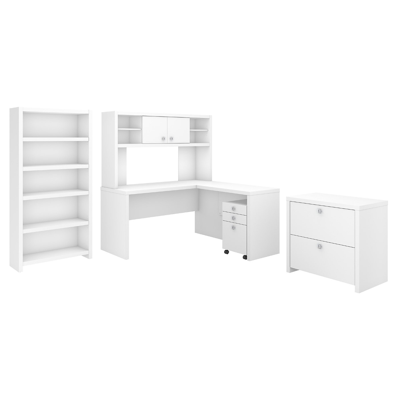 OFFICE BY KATHY IRELAND� ECHO L SHAPED DESK WITH HUTCH, BOOKCASE AND FILE CABINETS. FREE SHIPPING
