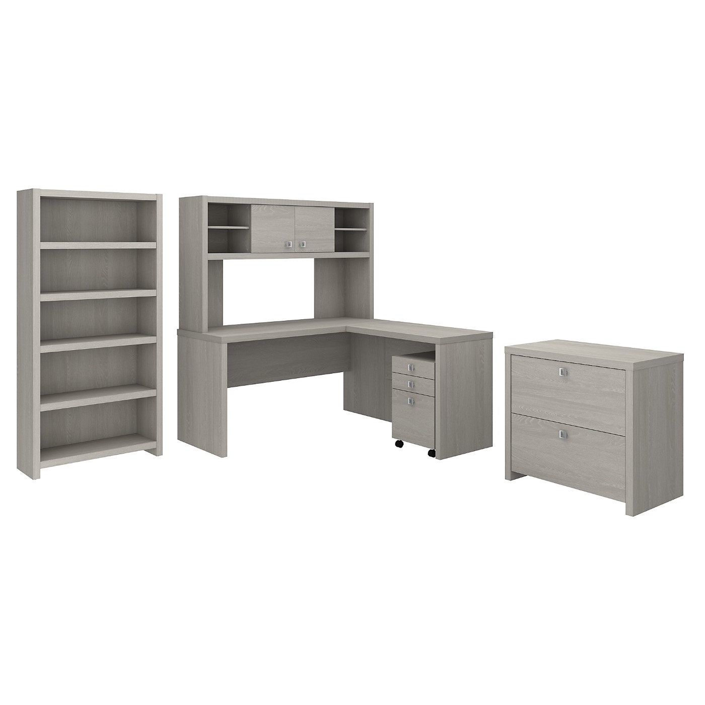 The kathy ireland� Echo L Shaped Desk with Hutch, Bookcase and File Cabinets is Sustainable Eco Friendly Furniture. Includes Free Shipping! 30H x 72L x 72W  VIDEO BELOW.