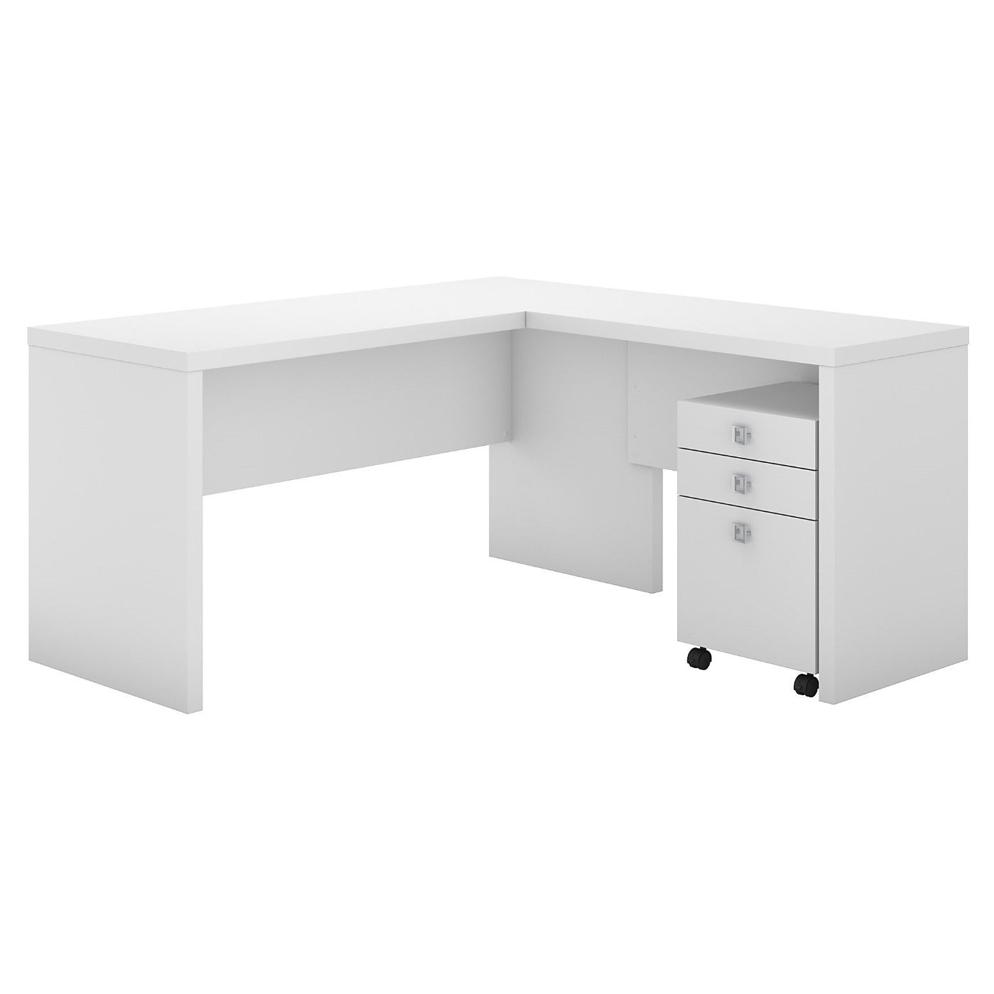 OFFICE BY KATHY IRELAND� ECHO L SHAPED DESK WITH MOBILE FILE CABINET. FREE SHIPPING