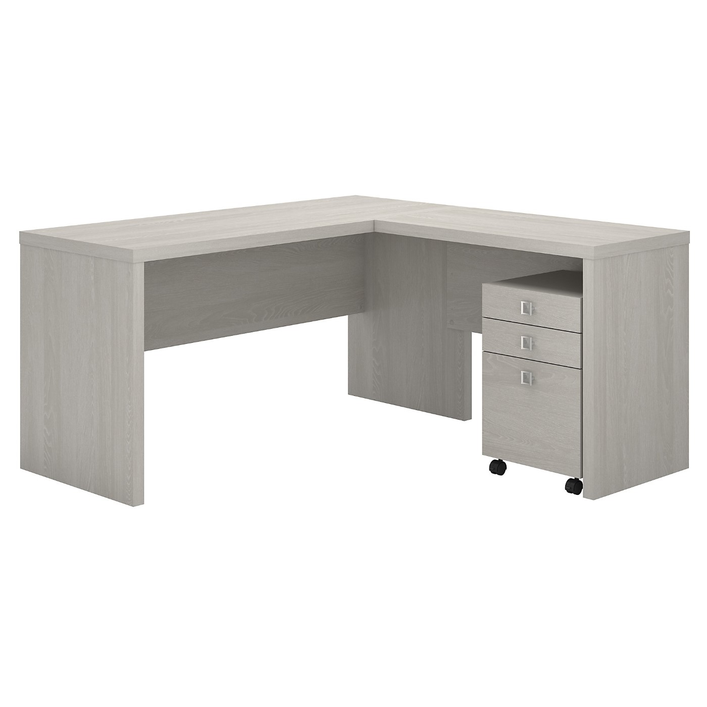 The kathy ireland� Echo L Shaped Desk with Mobile File Cabinet is Sustainable Eco Friendly Furniture. Includes Free Shipping! 30H x 72L x 72W.