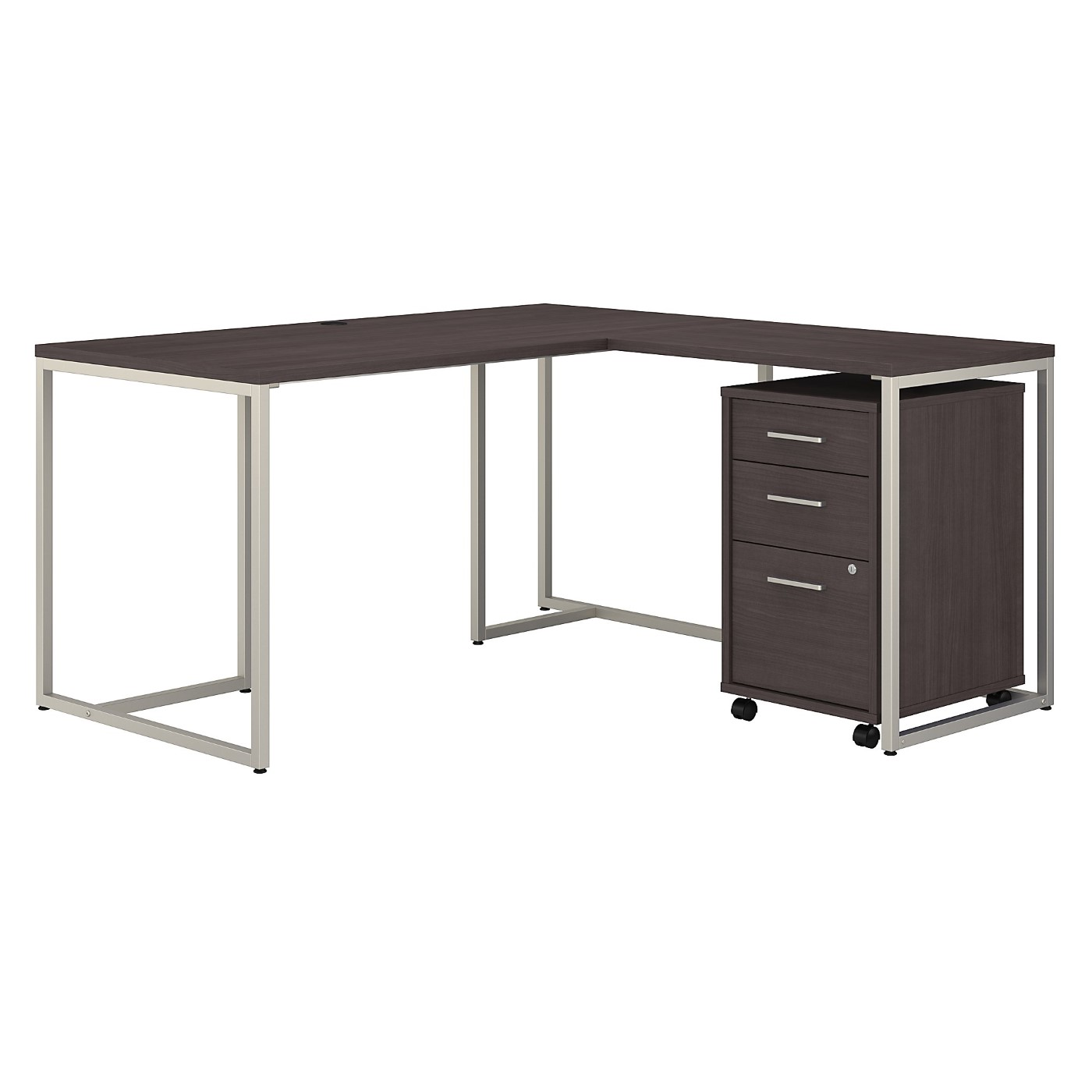 OFFICE BY KATHY IRELAND® METHOD 60W L SHAPED DESK WITH 30W RETURN AND MOBILE FILE CABINET. FREE SHIPPING
