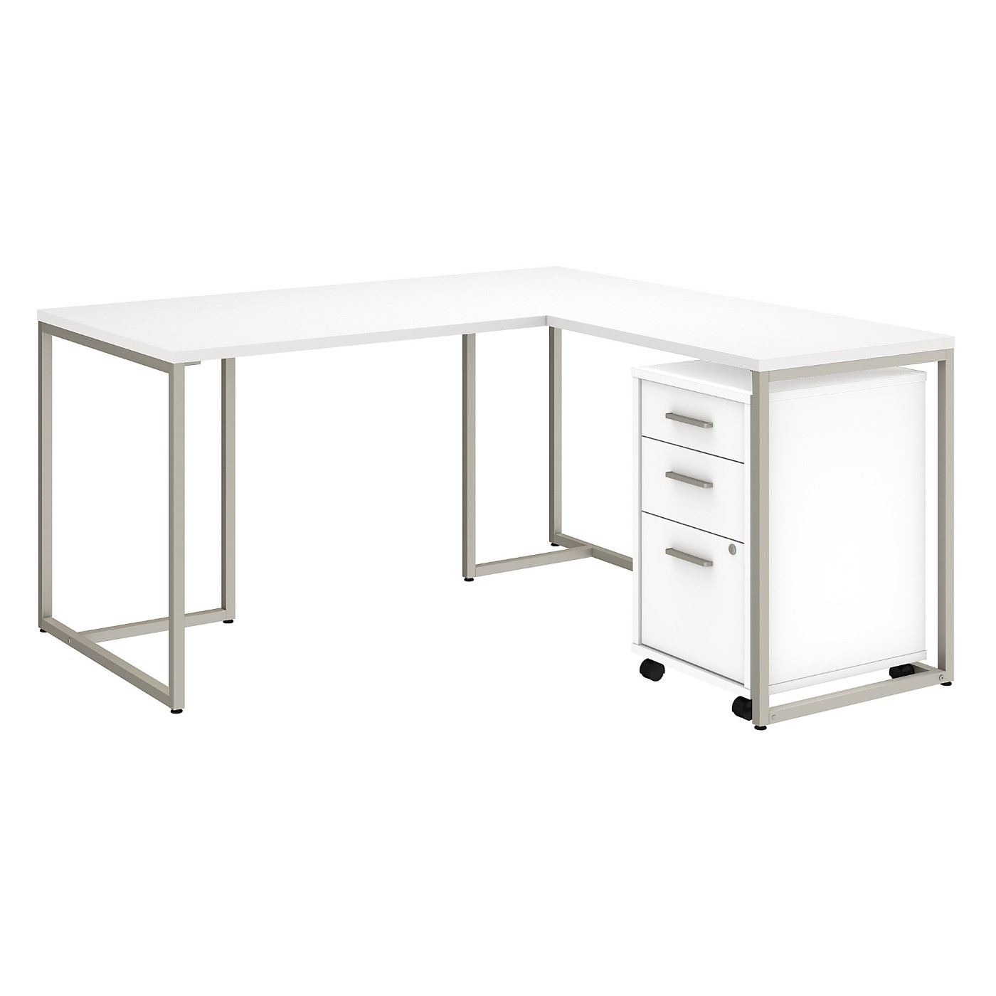 OFFICE BY KATHY IRELAND� METHOD 60W L SHAPED DESK WITH 30W RETURN AND MOBILE FILE CABINET. FREE SHIPPING