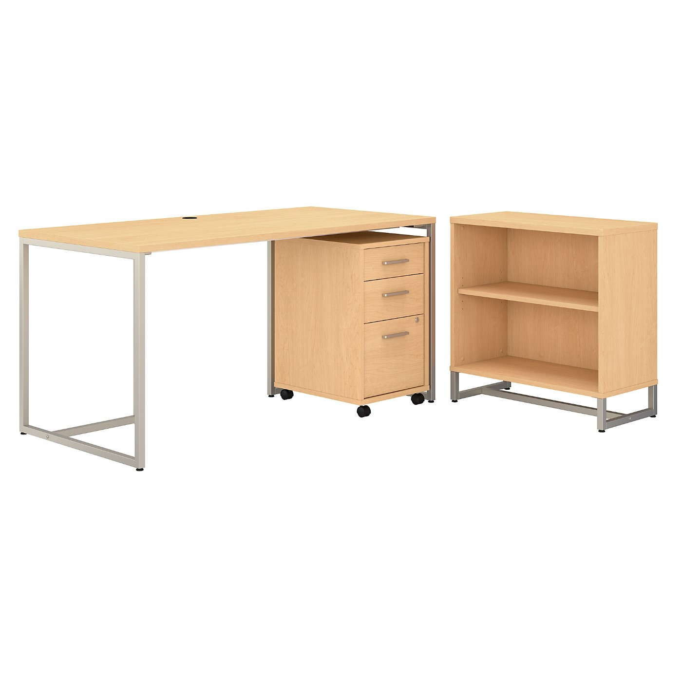 OFFICE BY KATHY IRELAND® METHOD 60W TABLE DESK WITH BOOKCASE AND MOBILE FILE CABINET. FREE SHIPPING