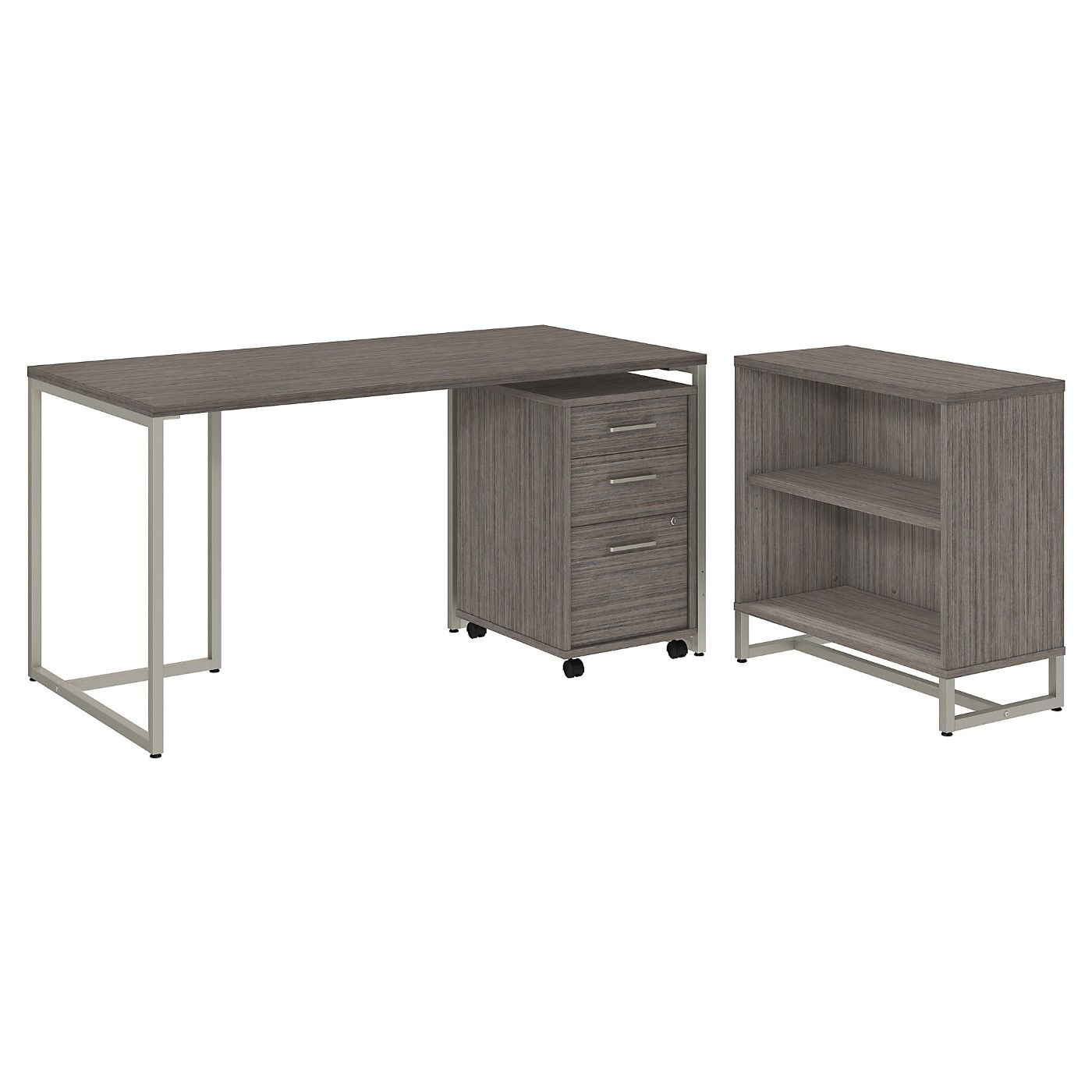 OFFICE BY KATHY IRELAND� METHOD 60W TABLE DESK WITH BOOKCASE AND MOBILE FILE CABINET. FREE SHIPPING