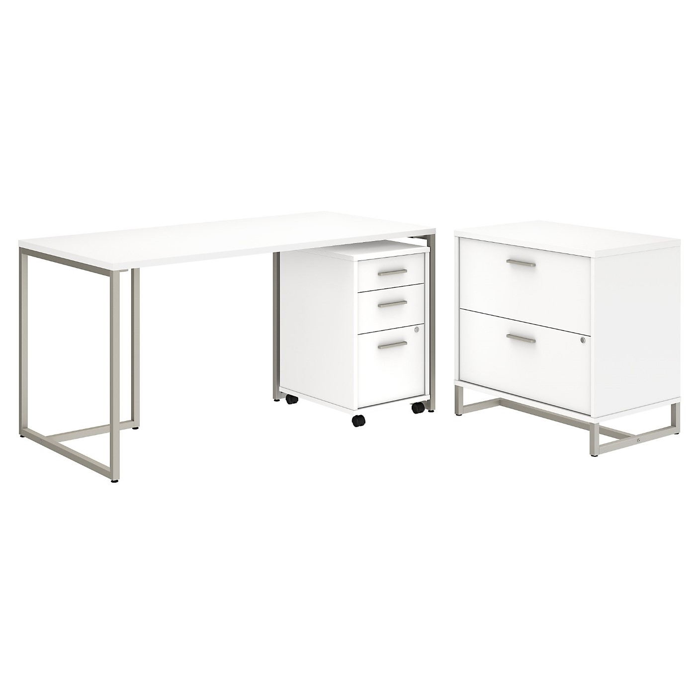 OFFICE BY KATHY IRELAND� METHOD 60W TABLE DESK WITH FILE CABINETS. FREE SHIPPING