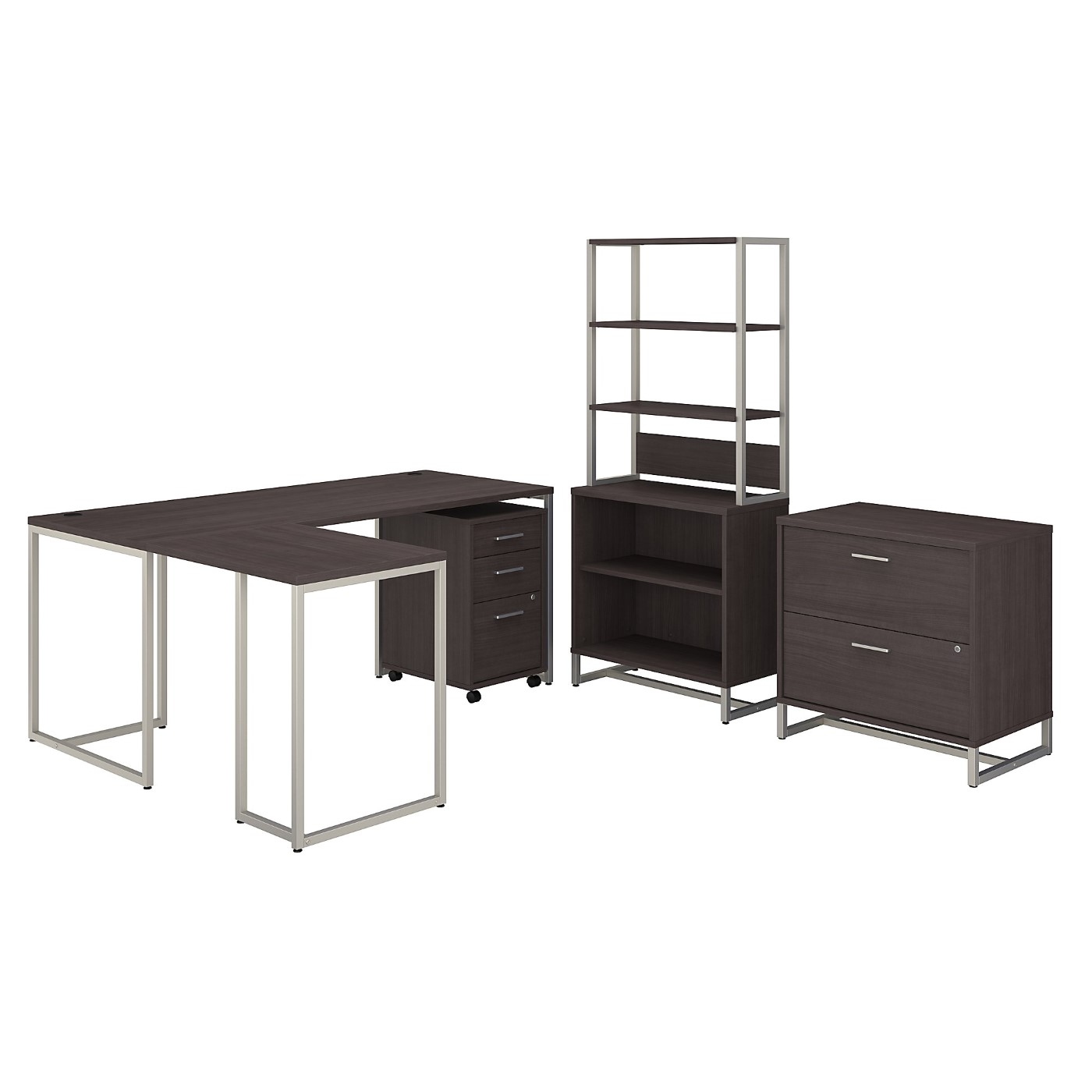 OFFICE BY KATHY IRELAND® METHOD 72W L SHAPED DESK WITH 30W RETURN, FILE CABINETS AND BOOKCASE. FREE SHIPPING