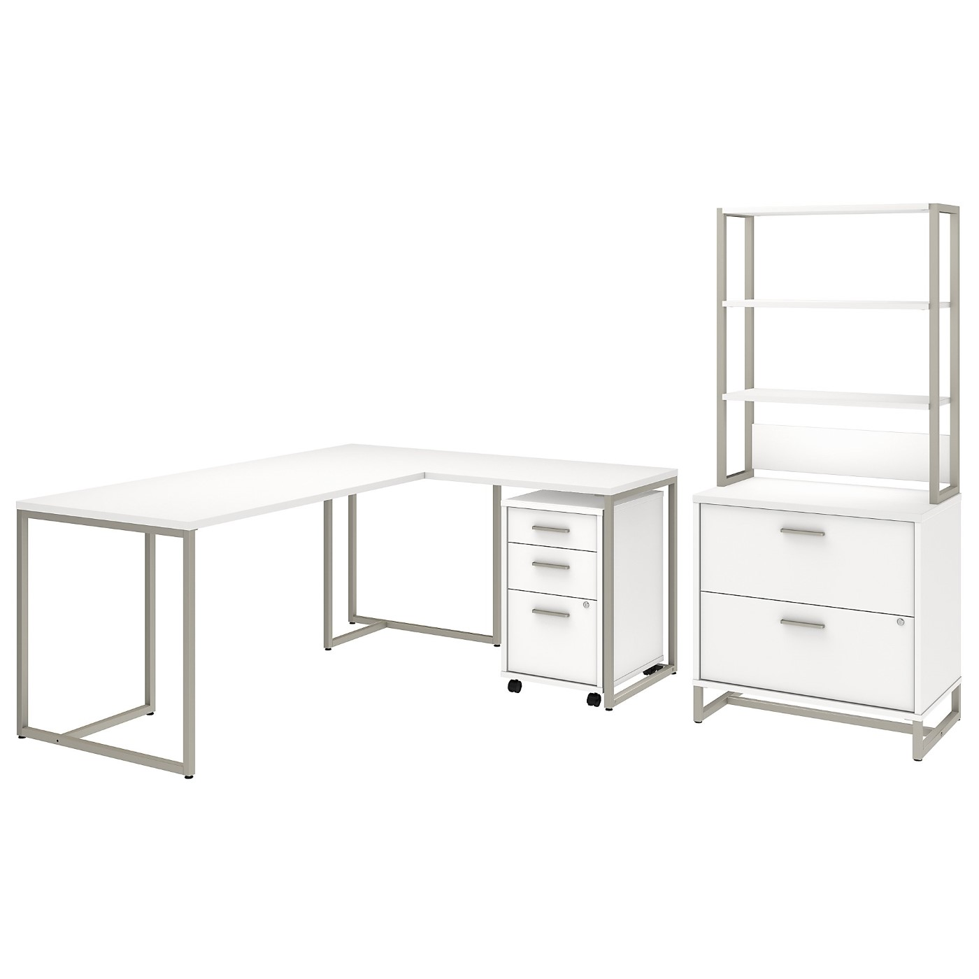 OFFICE BY KATHY IRELAND� METHOD 72W L SHAPED DESK WITH 30W RETURN, FILE CABINETS AND HUTCH. FREE SHIPPING