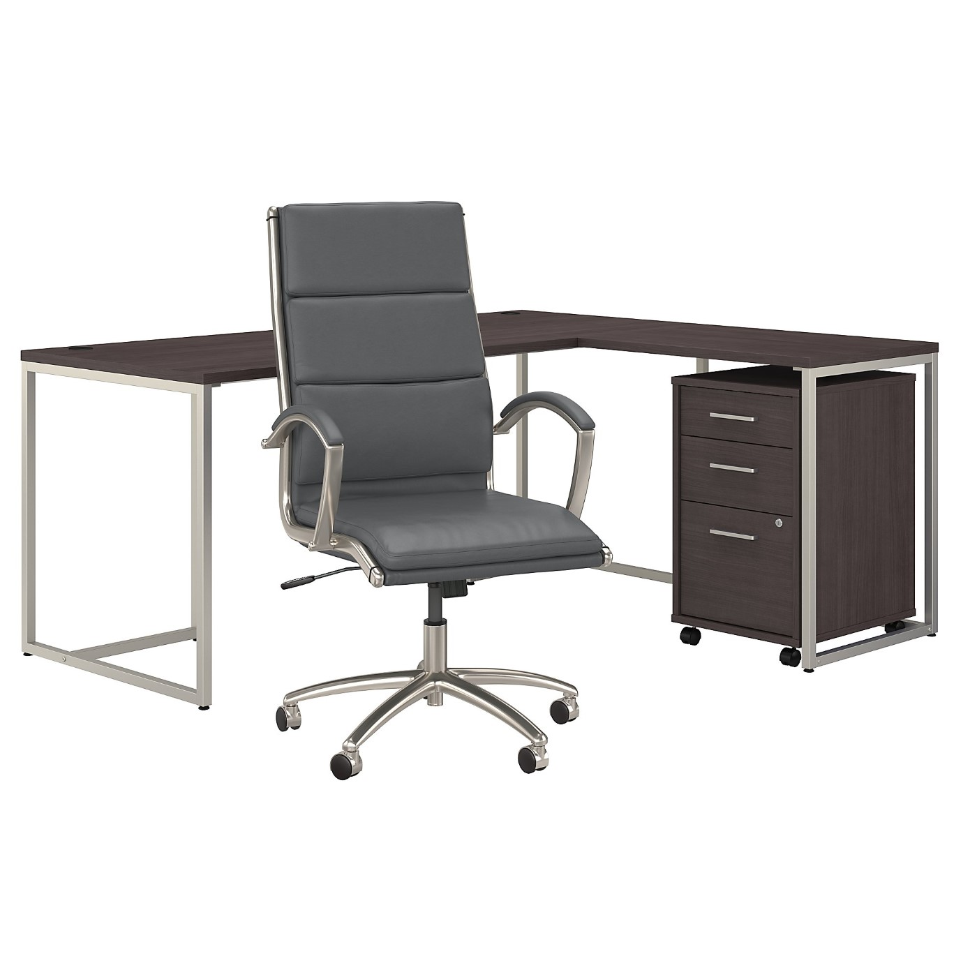 OFFICE BY KATHY IRELAND® METHOD 72W L SHAPED DESK WITH CHAIR AND MOBILE FILE CABINET. FREE SHIPPING