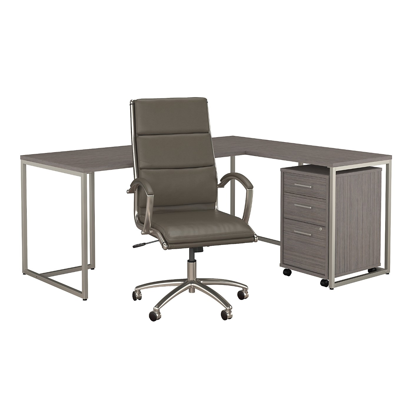 OFFICE BY KATHY IRELAND® METHOD 72W L SHAPED DESK WITH MOBILE FILE CABINET AND HIGH BACK OFFICE CHAIR. FREE SHIPPING