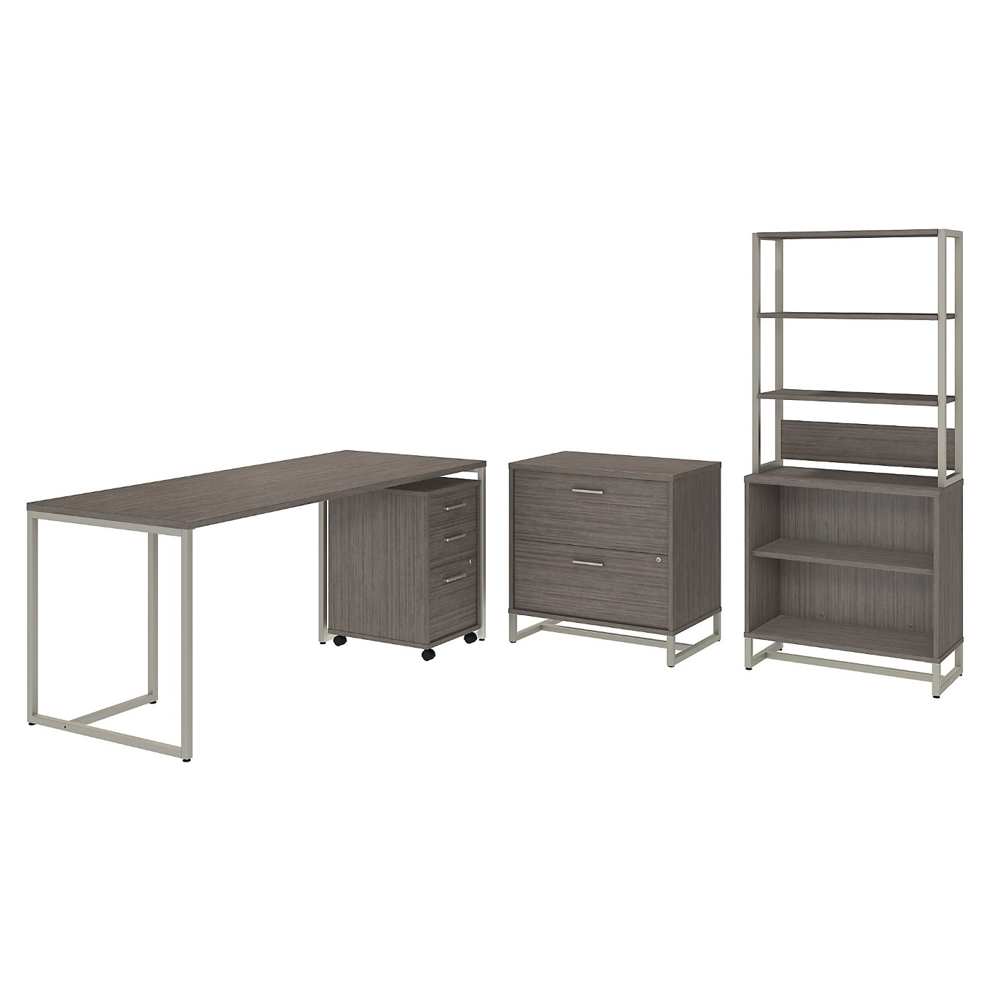 OFFICE BY KATHY IRELAND® METHOD 72W TABLE DESK WITH FILE CABINETS AND BOOKCASE. FREE SHIPPING SALE DEDUCT 10% MORE ENTER '10percent' IN COUPON CODE BOX WHILE CHECKING OUT.