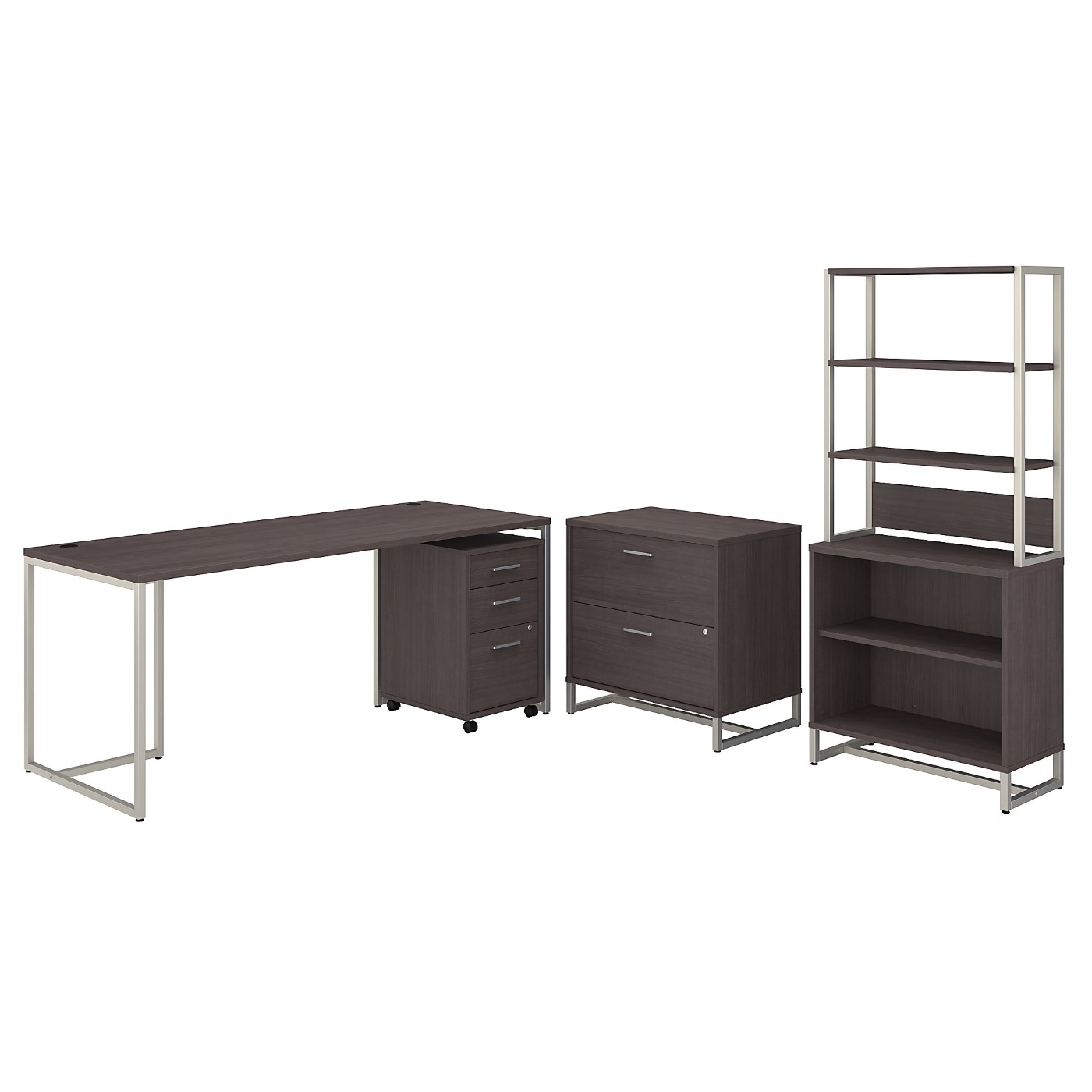OFFICE BY KATHY IRELAND® METHOD 72W TABLE DESK WITH FILE CABINETS AND BOOKCASE. FREE SHIPPING
