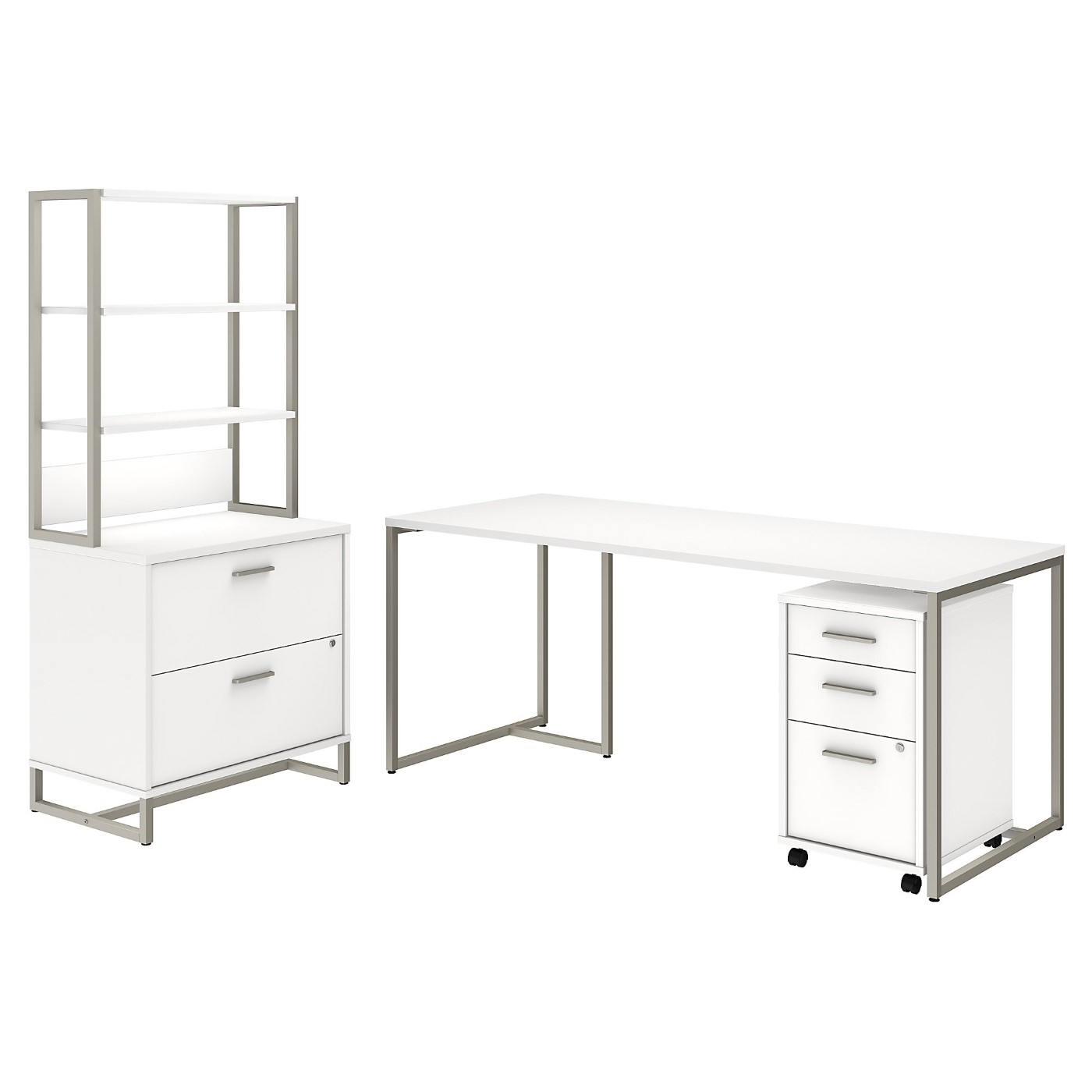 OFFICE BY KATHY IRELAND� METHOD 72W TABLE DESK WITH FILE CABINETS AND HUTCH. FREE SHIPPING