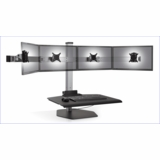 """QUAD MONITOR STAND ERGONOMIC WORKSTATION THAT ACCOMMODATES MOST WIDESCREEN MONITORS UP TO 24"""". VIDEO:"""