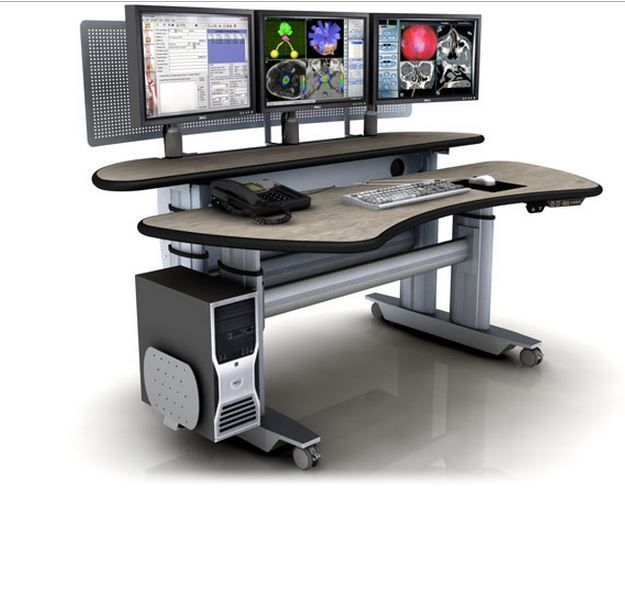 "ERGOTRAC ADJUSTABLE RADIOLOGY DESK W/DUAL SURFACES. FROM $6,037 to $8,295. DIM: 73.5"" x 45"". MADE IN USA. VIDEO BELOW. #ITEM ERGOTRAC-ET6-BL-E-L3:"