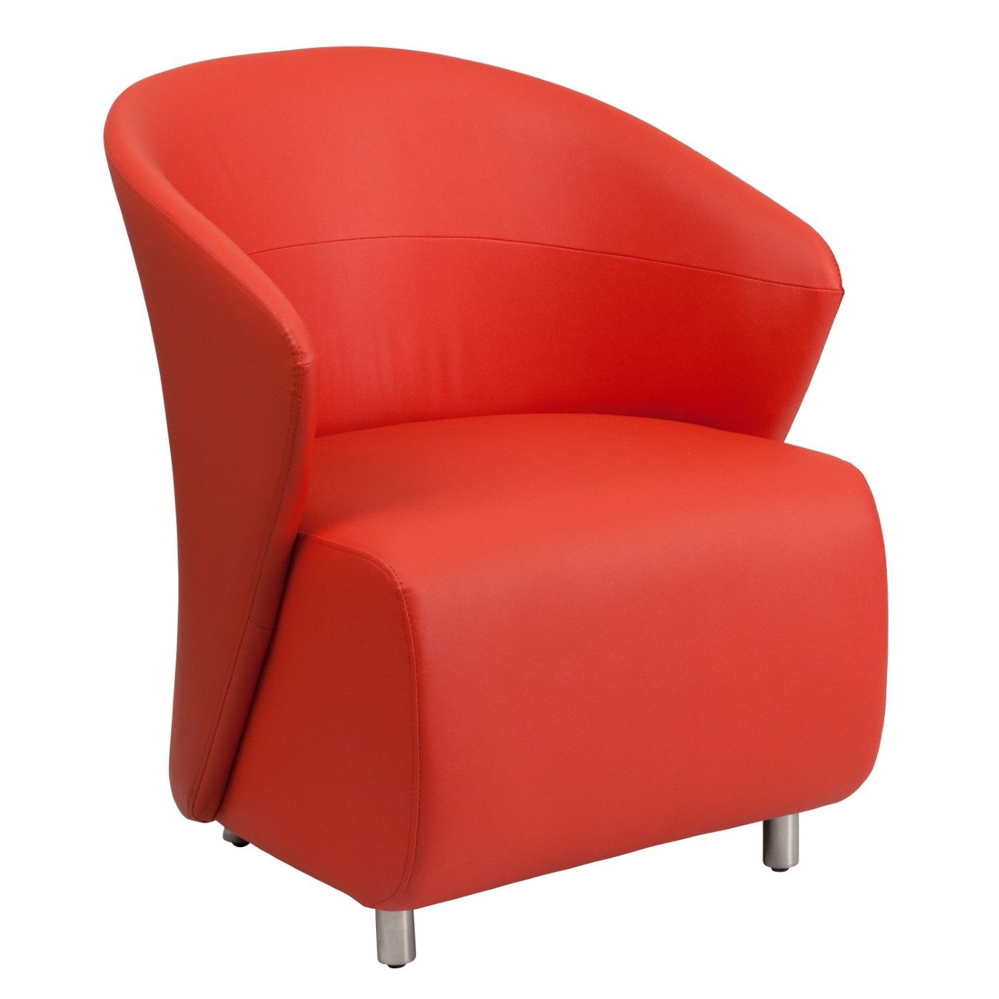 Red LeatherSoft Curved Barrel Back Lounge Chair