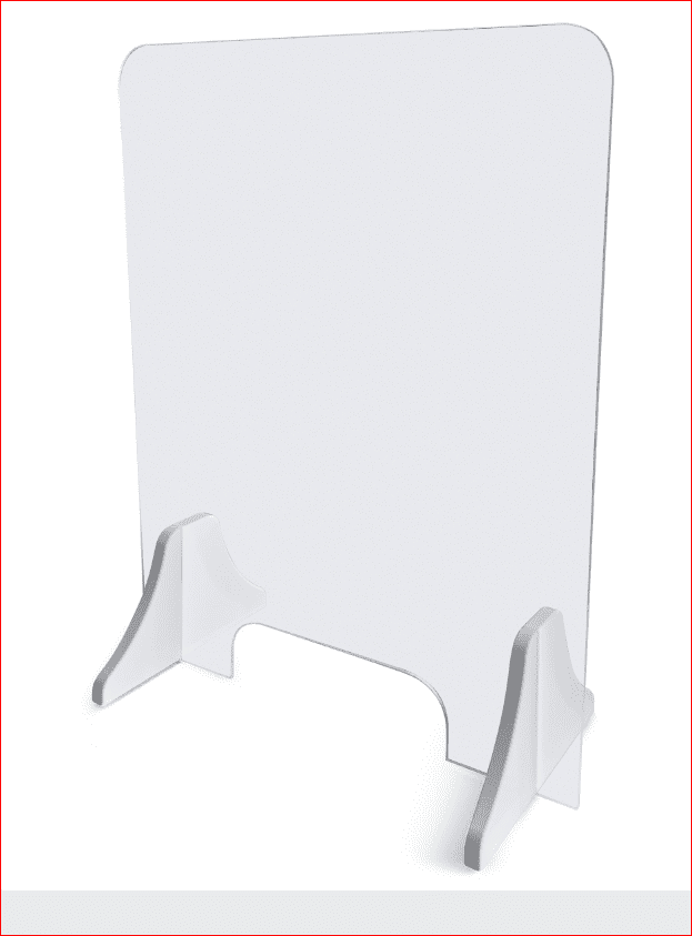 SOCIAL DISTANCING BARRIER SHIELD. ACRYLIC SNEEZE GUARD. SITS ON TOP OF DESK. ERGONOMIC HOME #EH-SHIELD-3024: