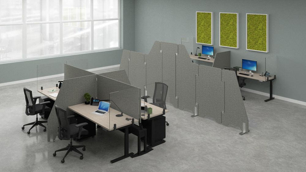 SOCIAL DISTANCING FURNITURE: EACH ERGONOMIC FURNITURE PRODUCT HAS INCORPORATED SOCIAL DISTANCING BARRIERS LIKE SNEEZE GUARDS. READ MORE: