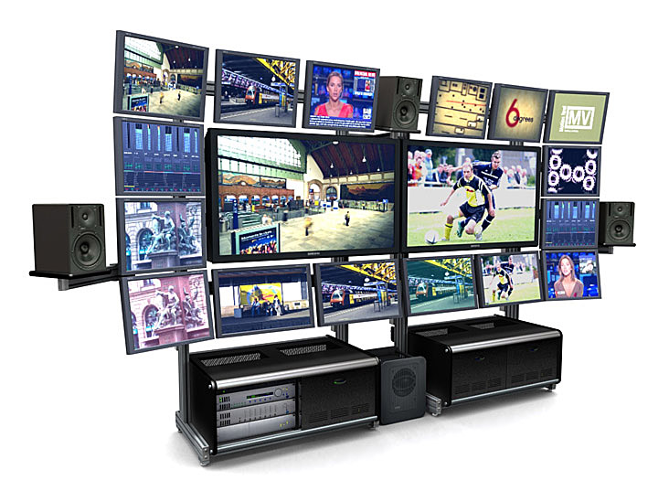 TBC TRACWALL VIDEO WALL - TV WALL MOUNT: IS AN EXCELLENT SYSTEM FOR ORGANIZING A WALL OF MONITORS.