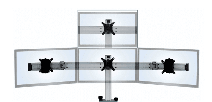 "THIS QUAD MONITOR MULTI MOUNT MOUNT HOLDS MONITORS UP TO 27"". #BILD-E000036010 BY ERGONOMICHOME.COM. FREE SHIPPING. VIDEO: </b></font>"