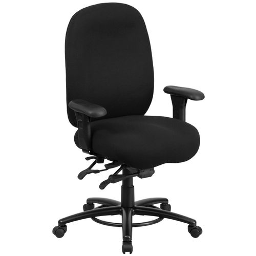 TOUGH ENOUGH Series 24/7 Intensive Use Big & Tall 350 lb. Rated Black Fabric Multifunction Ergonomic Office Chair - Foot Ring