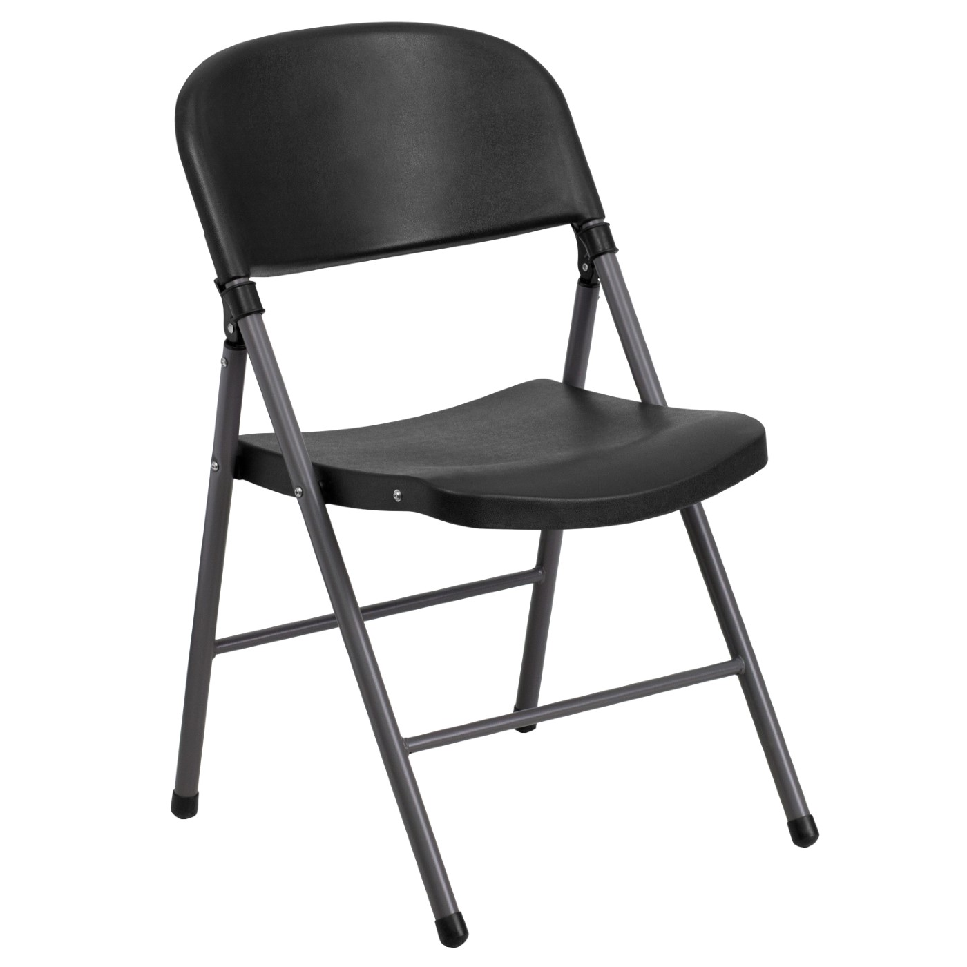 TOUGH ENOUGH Series 330 lb. Capacity Black Plastic Folding Chair with Charcoal Frame