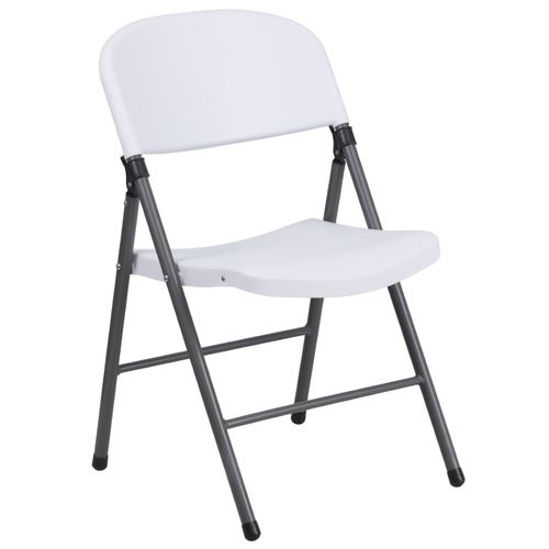 TOUGH ENOUGH Series 330 lb. Capacity Granite White Plastic Folding Chair with Charcoal Frame
