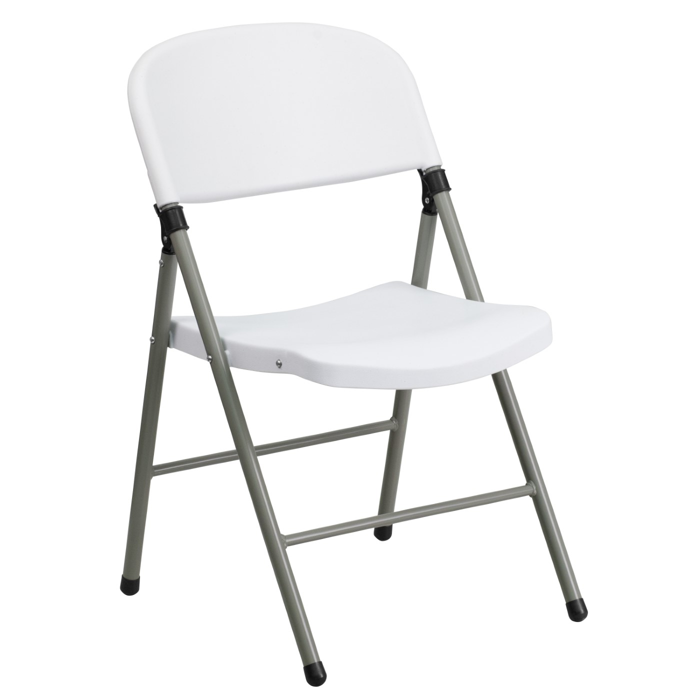 TOUGH ENOUGH Series 330 lb. Capacity White Plastic Folding Chair with Gray Frame