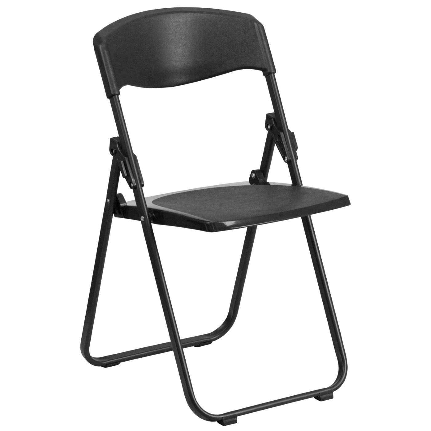 TOUGH ENOUGH Series 500 lb. Capacity Heavy Duty Black Plastic Folding Chair with Built-in Ganging Brackets. Note: Price Is For Two Chairs