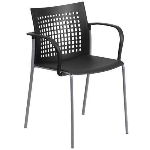 TOUGH ENOUGH Series 551 lb. Capacity Black Stack Chair with Air-Vent Back and Arms