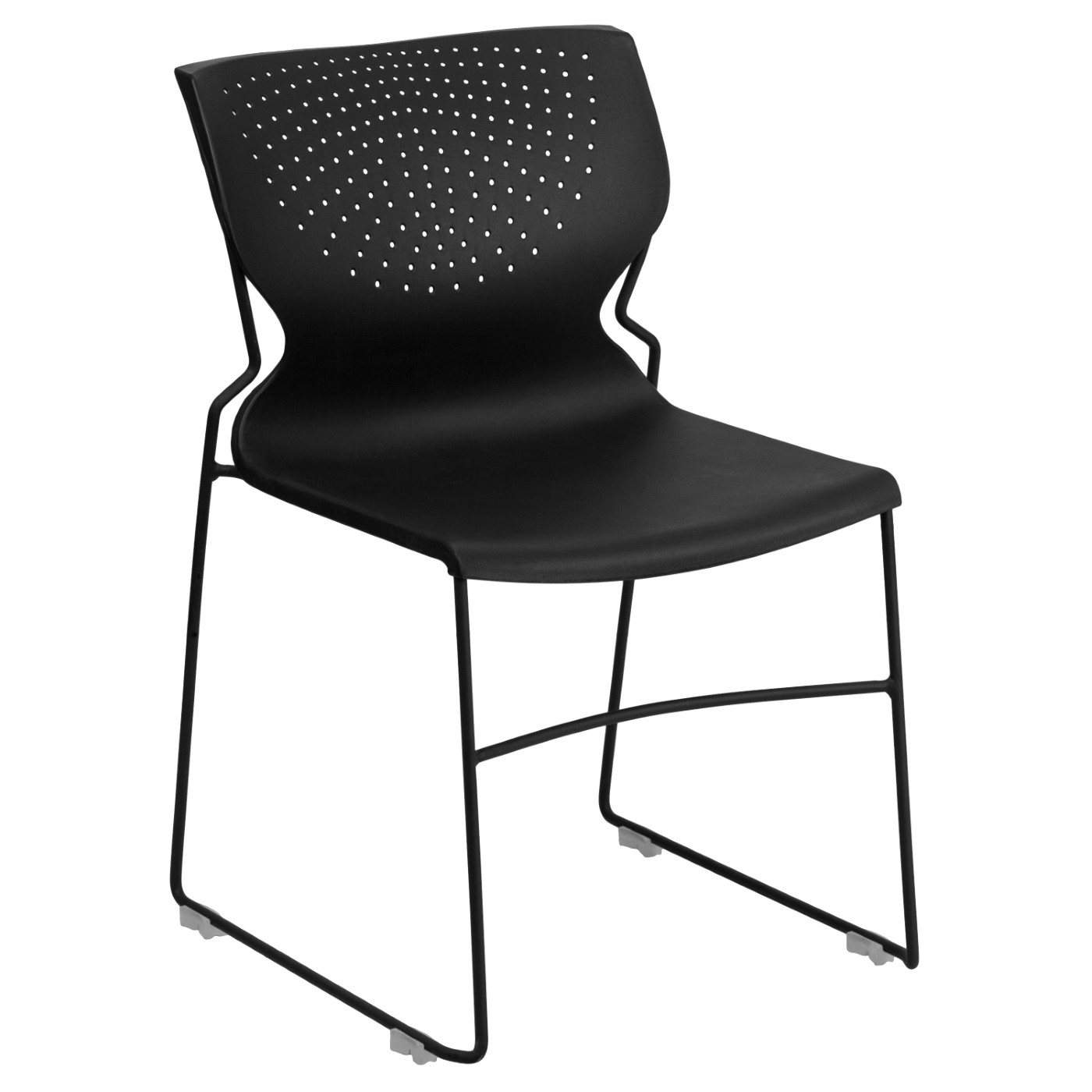 TOUGH ENOUGH Series 661 lb. Capacity Black Full Back Stack Chair with Black Powder Coated Frame