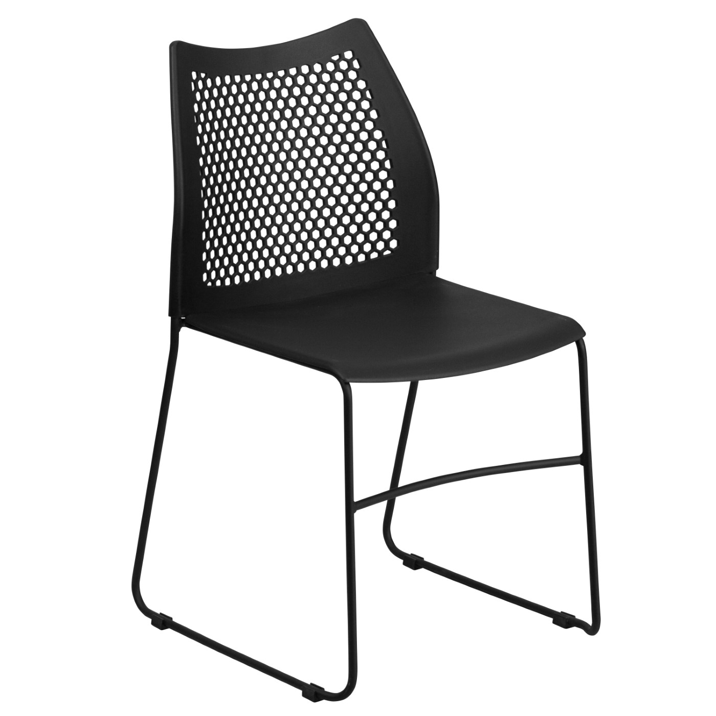 TOUGH ENOUGH Series 661 lb. Capacity Black Stack Chair with Air-Vent Back and Black Powder Coated Sled Base