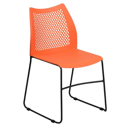 TOUGH ENOUGH Series 661 lb. Capacity Orange Stack Chair with Air-Vent Back and Black Powder Coated Sled Base