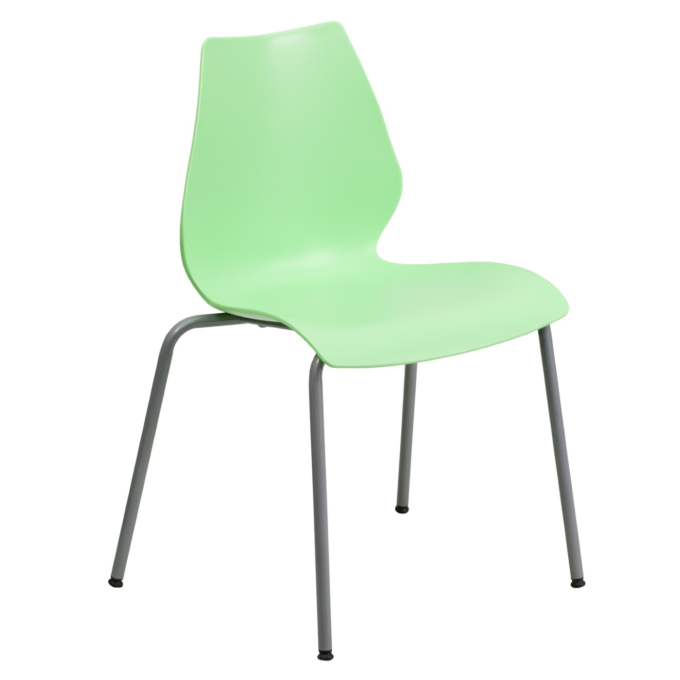 TOUGH ENOUGH Series 770 lb. Capacity Green Stack Chair with Lumbar Support and Silver Frame