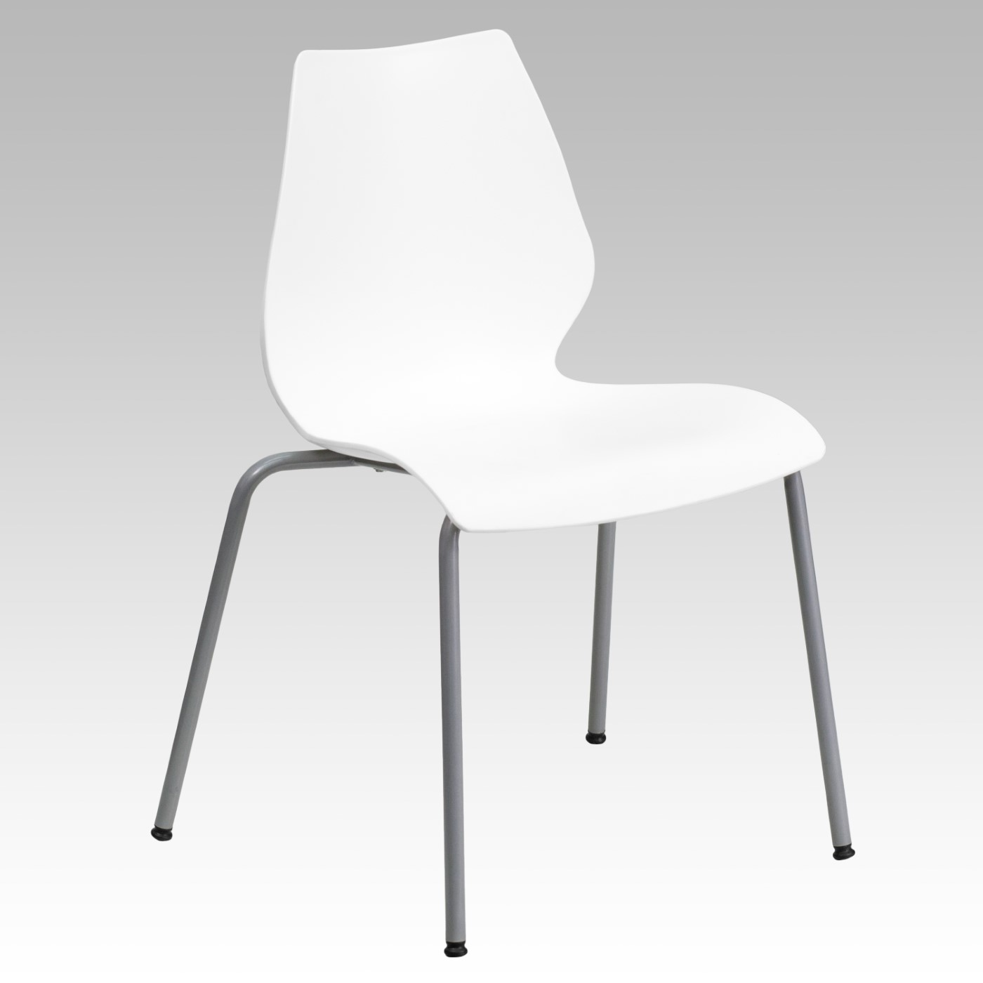 TOUGH ENOUGH Series 770 lb. Capacity White Stack Chair with Lumbar Support and Silver Frame