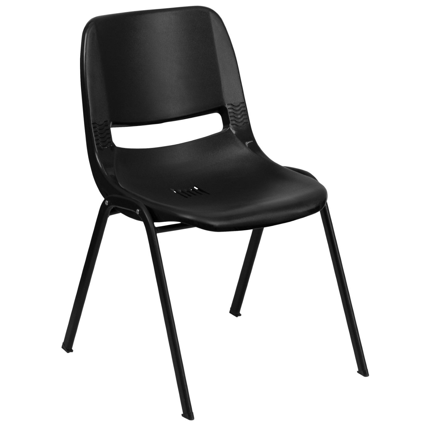 TOUGH ENOUGH Series 880 lb. Capacity Black Ergonomic Shell Stack Chair with Black Frame